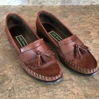 Cole Haan Woven Leather Loafers Tassel Brown Mahogany size 9AA Leticia Shoes