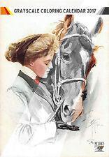 """Coloring Calendar 2017 (12 pages 8""""x11"""") Girl Horse Vintage Portrait FLONZ 1007"""