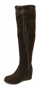 LADIES BROWN SOFT STRETCH OVER THE KNEE HIGH RUCHED WEDGE BOOTS SHOES UK 3-8