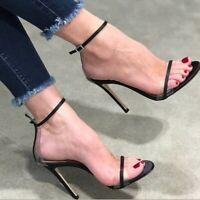 Fashion Women Sandals Open Toe Slim Heels Sandals Black Shoes Woman Plus Size 20