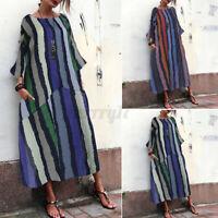 ZANZEA UK Womens Casual Loose Long Sleeve O Neck Strip Dress Kaftan Maxi Dresses