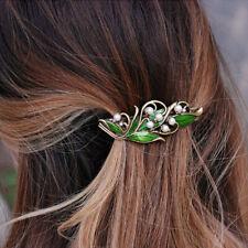 Lady Green Crystal Rhinestone Metal Hair ClipWomen Wedding Hair Pin Barrette