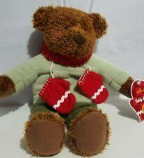 "Hallmark Plush Teddy Mittens Bear Stuffed Animal Brown Green Red 14"" New"