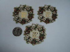 PK 6 ANITA'S CHRISTMAS NOEL WREATH EMBELLISHMENT TOPPERS FOR CARDS OR CRAFTS