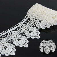 2 Yards Polyester Off White Floral Applique Lace Trim Dress Sewing Crafts DIY