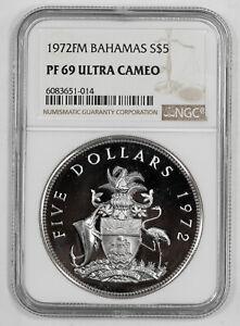 1972 FM PROOF BAHAMAS SHIELD S$5 PIRATE DEFEAT MOTTO NGC PF 69 ULTRA CAMEO (014)