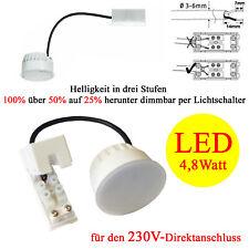 230V LED Einbaustrahler 4,8W Einbau Spots Leuchte dimmbar in 3 Stufen warmweiß