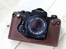 Genuine leather half case pour Canon F1 (marron) - neuf