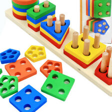 Educational Baby Kids Child Puzzle Wooden Toy Geometric Sorting Board Blocks Set