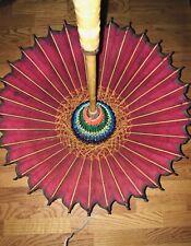 Vintage Asian Rice Paper Bamboo Parasol Umbrella, Hand Painted