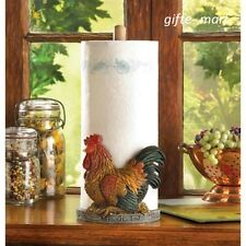 country kitchen ROOSTER hen statue counter paper towel holder table dispenser