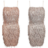 Strappy Sequin Tassle Fringe Short Tie Back Mini Bodycon Party Evening Dress