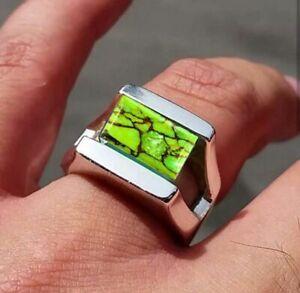 925 Sterling Silver Overlay Green Copper Turquoise Gemstone Designer Mens Ring