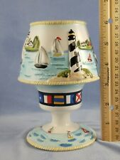 Votive Candle Lamp Seaside Views Sailboats Waves Lighthouses Nautical Flags 2005