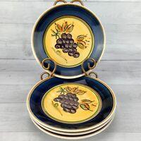 Gibson ANTIQUE VINEYARD  Cobalt Band Grape Cluster Salad Dessert Plates Set 4