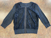 Banana Republic Women's Gray Lace Floral front 3/4 sleeve Zip up sweater size L