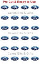24x Ford Car Logo Badge Edible Wafer Cupcake Toppers Pre-cut Ready to Use