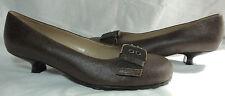 """STEVEN Niza Solid Brown Leather 1.25"""" Low Kitten Heel Pumps w/Brass Buckle 8.5 M"""