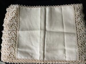 Linen Placemats With Lacy Edging X 6 (possibilities For Embroidery)