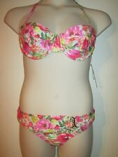Gianni Bini FLORAL BIKINI SWIMSUIT L 2pc NEW Bustier TOP Belted Bottom NWT $112