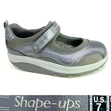 Skechers Shape Ups US 7, EU 37 Silver & Gray Leather Mary Jane Toning Shoes
