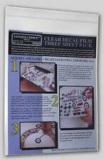 INKJET PRINTER CLEAR DECAL Film #122 - 3-Sheet 8 1/2 x 11 Pack