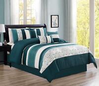 Modern 7 Piece Oversize Comforter Set Bedding set with Accent Pillows Teal Queen