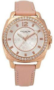 Coach Boyfriend Pink Leather Rose Gold Women Watch 14503151 $225