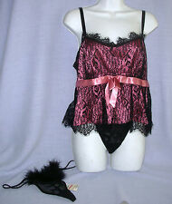 sz L MORGAN TAYLOR Babydoll sleep Cami 2 G String Thong Panties lot black nwt LG