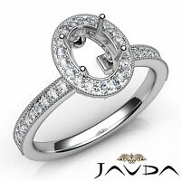 Halo Pave Oval 14k White Gold 0.5Ct Semi Mount Diamond Engagement Milgrain Ring