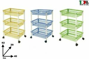 Tontarelli - Trolley Multifunction' Mito 3' A 3 Shelves Plastic With Wheels