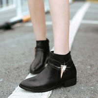 Womens Pointed Toe Flat Oxford Punk Rhinestones Block Ankle Boots Shoes Size New