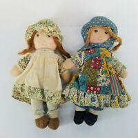"Vintage Original Knickerbocker Holly Hobbie & Friend Heather Cloth rag dolls 9"""