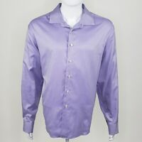 Egara Men's Non Iron Slim Fit Purple Striped Long Sleeve Button Up XXL 19 19.5