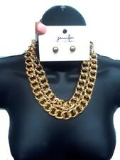 2 Row Fashion Link Metal Curb Chain Gold Statement Necklace Set Bib NEW