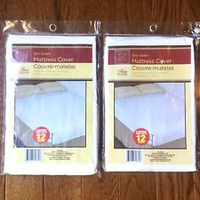 x2 Queen Mattress Protectors Covers Fitted Waterproof Lightweight Soft Plastic