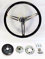 """1970-1977 Mustang 15"""" Black Wood Steering Wheel High Gloss Grip Mustang Cap"""