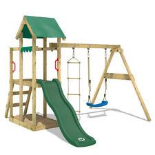 WICKEY Spielturm Kletterturm TinyPlace Holz Garten Schaukel Grüne Rutsche & Dach