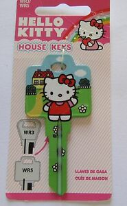 Hello Kitty House Key Blank-green blue yellow-house Heart on back-WR3/WR5