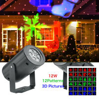 LED Christmas Laser Projector Lights Outdoor Garden Xmas Decorations 12 Patterns