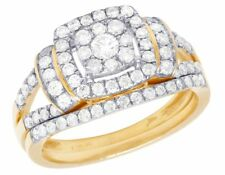 Real 14K Yellow Gold Genuine Diamond Square Halo Cluster Wedding Ring Set 1 Ct