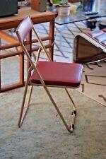 Industrial Vintage Mid Century Japanese Sankei Metal Folding Outdoor Chair, Red