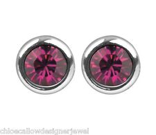 1x Pair of July Birthstone 4mm Ruby Crystal Gem Ear Studs Earrings + gift bag