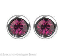 1x Pair of July Birthstone 4mm Ruby Crystal Gem Ear Studs Earrings + gift bag
