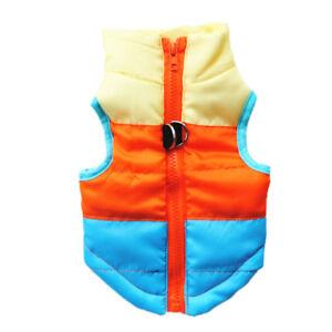 Pet Dog Warm Apparels Padded Coat Winter Puffer Jacket Zip Vest Clothes Outdoor