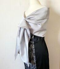 Châle gris soirée  étole de mariée en satin argenté  écharpe