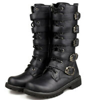 Punk Rock MENS BLACK GOTH PUNK ROCK BAND BUCKLE BOOTS LAGER SIZE UK 5-10