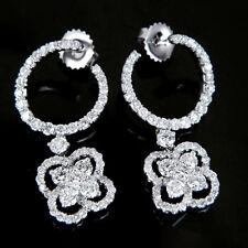 3 carat E VS1 Diamond Earrings 18k White Gold Clover Drop Dangle Hoop Circle ct