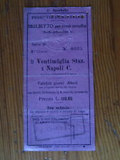 Ticket  train Vintimille Naples de 1925 - Ventimiglia Napoli biglietto ferrovie