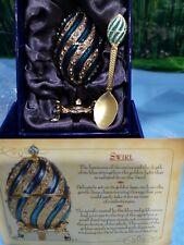 Atlas Editions Faberge Egg Enamel Trinket Box 'Swirl' Inc Spoon & Certificate